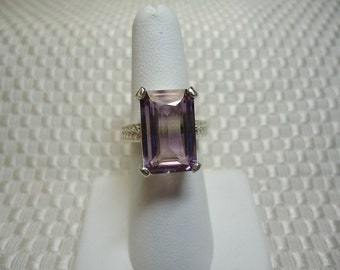 Emerald Cut Ametrine Ring in Sterling Silver
