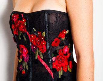 S.A.L.E was 550 now 375 divine vintage 90s DOLCE & GABBANA lace boned corset bustier with satin velvet floral applique