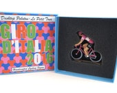 Cycling gift - Giro D'Italia 2016 Pink Jersey Metal Cycling Figure Hand Painted - Printed Fabric Box - Maglia Rosa