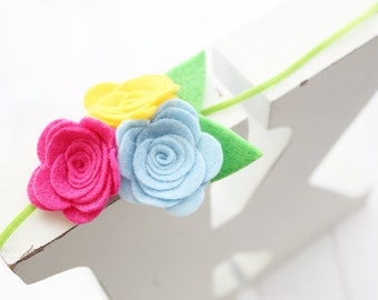 Felt flower headband-Pink, blue, yellow flowers -Baby girl headband- Gift- Girl headband -Hair accessory -Toddler headband- baby shower gift