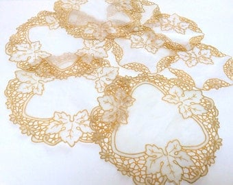 Vintage Embroidered Doilies, Madeira Cutwork Doilies, Set of Eight, Exquisite And Handmade