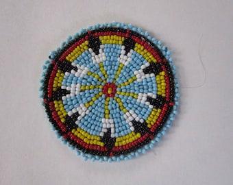 "3"" Glass Beaded Rosette Medallion Tribal Regalia Beadwork Craft 1A"