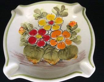 Vintage Square Flowers Ashtray