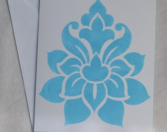 Hand Stencilled Lotus Flower Greeting Card, Stencilled Notecard, Light Blue and White, Framable, Stationery