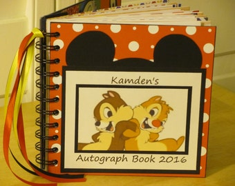 Disney Autograph Book CHIP and DALE Scrapbook Boy or Girl Keepsake