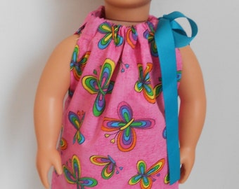 Bright and fun pink butterfly pillowcase dress for American Girl or 18 inch doll NOW ON SALE