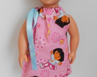 Dora the Explorer Pillowcase dress for American Girl doll and 18 inch dolls