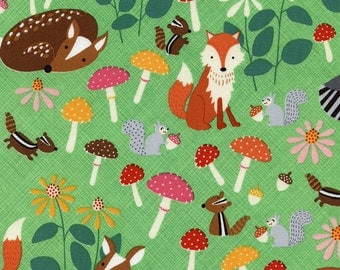 Let's Get Nutty Woodland Animals C3666 Green by Timeless Treasures