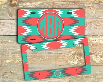 Personalized license plate or frame, Aztec pattern in turquoise, white and coral, Tribal car tag or bike sized license plate  (1259)
