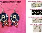 Captain America Earrings Super Hero -CHOICE- Handmade Steel Hypoallergenic Leverback French Hook Post Pierced OR Clip On