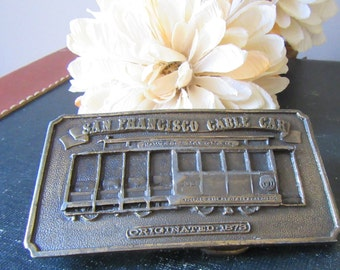 Vintage San Francisco Souvenir Cable Car Belt Buckle Bergamot Brass Works 1976 Powell and Mason St.