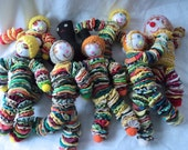 Collectible Yo Yo Sewing Handmade Homemade Clowns Dolls and Mammy Lot Crocheted Hats Googly Eyes Buttons