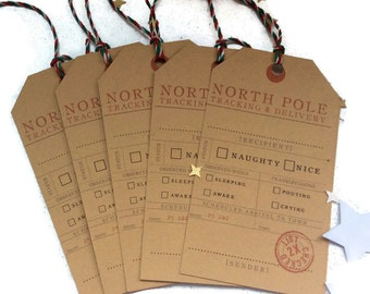 Christmas tags, Naughty or nice, Christmas gift tags, labels, hang tags, Tracking from the North Pole, from Santa, Holiday tag, Christmas