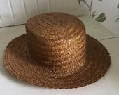 JULY SALE Vintage French braided straw handmade sun garden hat country cottage gardener shabby chic farmer boho decor countryside Edwardian