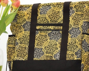 Black and Gold Teacher Tote Bag, Nurse Tote Bag, Zippered Large Tote with Pockets, Diaper Bag, Professional Tote, Kitchen Sink Tote