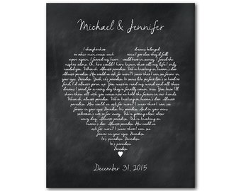 Engagement, Wedding, Anniversary Gift - Wedding Song Lyrics - Favorite song - Wedding Vows - Heart Typography Print - gift for couple