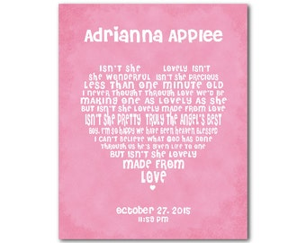 Any Nursery Song - nursery wall art - subway art - personalized nursery print - heart typography - Customizable Art