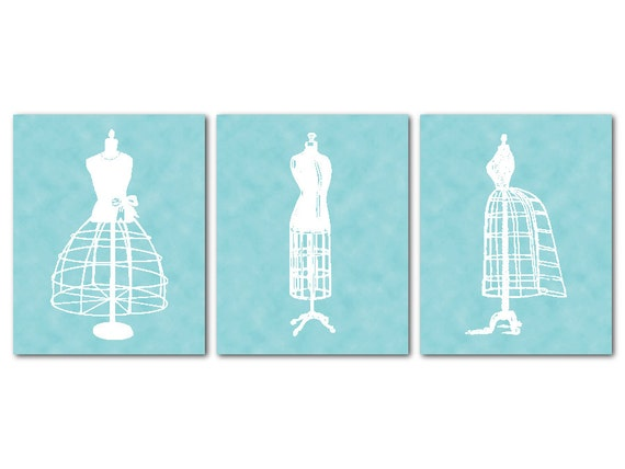 Vintage dress wall decor : Items similar to fashion wall art trio room decor