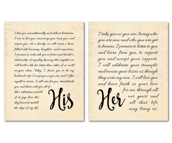 Wall Art Wedding Vows : Wedding wall decor his her vows art print duo