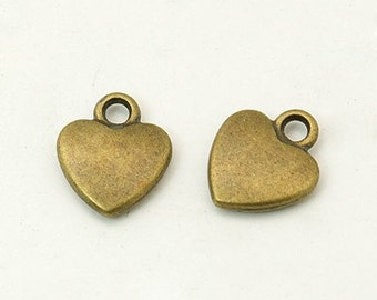 Bronze Heart Charms-Tiny Heart Charms-12mm-50pcs-Wholesale Charms Antiqued Bronze BULK