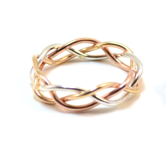 14k Gold Braided Ring - Men's Ring - 6 mm wide - Wedding Band - Braid Jewelry - Gold, Rose Gold, White Gold.