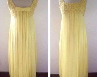ON SALE 1960s Vintage Women's Lemon Yellow Chiffon Gala Dress