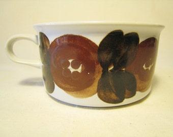 Arabia Finland ROSMARIN Early Hand Signed Brown Anemone Coffee Cup - Ulla Procope - Mid Century Modern - Finnish Design