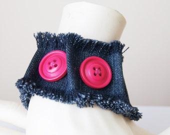 FREE Shipping Pink Button   Ruff Edged Denim Blue Jean Bracelet, Denim Bracelet Cuff , Recycled Blue Jean Bracelet,