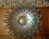 Vintage Iridescent Rainbow Scalloped Serving Bowls/Dishes With Six Champagne Flutes