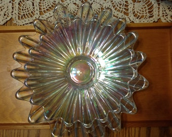 Vintage Set Of Two Iridescent Rainbow Scalloped Serving Bowls/Dishes With Six Champagne Flutes