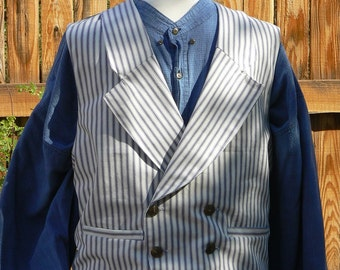 Victorian Double Breasted Striped Vest Men's Waistcoat