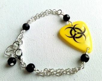 Biohazard Plectrum Bracelet, Guitar Pick Jewelry, Alternative, Black and Yellow Bracelet