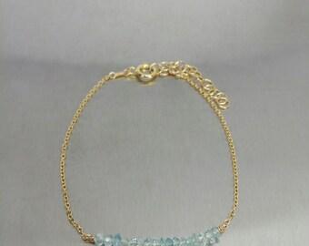 Aquamarine Bar Bracelet