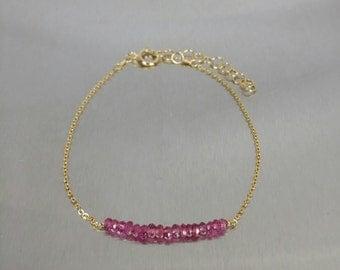 Pink Tourmaline Bar Bracelet