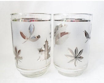 ON SALE Vintage Set of Four Libbey 12oz.Frosted Glasses with Silver Leaves,  Mid Century Modern,  Barware,  Glassware,  Bar Glass, Rocks Gla