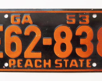 Vintage, Georgia, 1953, Wheaties, Bike Plate, Bicycle, License Plate, Cereal Premium, Peach State, Miniature, Tin, Embossed, Collectibles