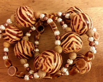 Cookie Bracelet - Memory Wire Bracelet in Shades of Brown and Tan with SIlver Accents
