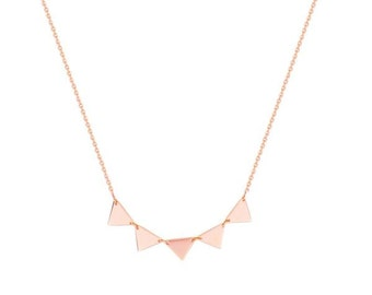 14k Rose Gold Triangles Necklace