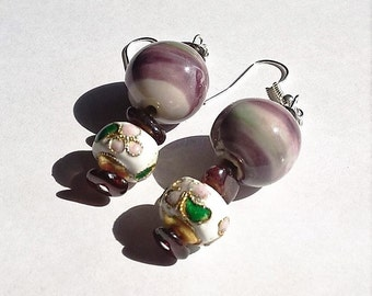 Dangle Earrings: White, Green, and Purple Swirled Ceramic Beads, White Cloisonne Beads, and Natural Garnet Beads