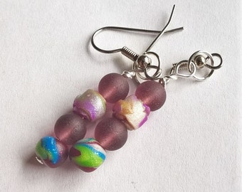 Colorful OOAK Dangle Earrings:  Handmade Polymer Clay Beads and Purple Recycled Glass Beads