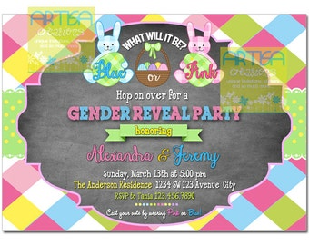 Easter Gender Reveal Invitation, Easter party gender reveal, Boy Girl gender reveal easter, bunny gender reveal, easter bunny gender reveal