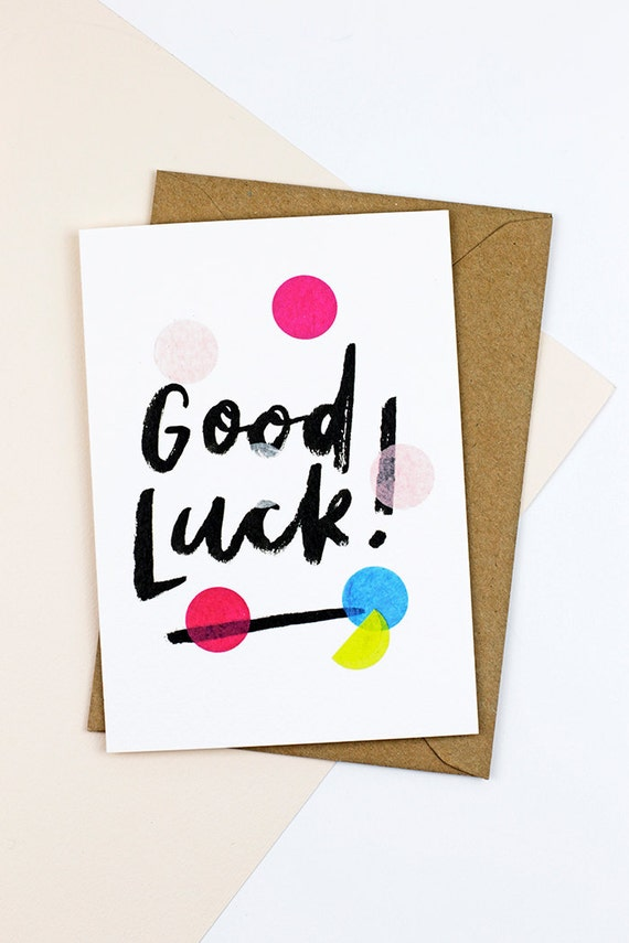 Good Luck Confetti Greetings Card Marriage Card Engagement Card Hand Lettering Brush Lettering a6 kraft confetti celebration polka dot