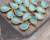 aqua green cat eye faceted drop charm gold plated teardrop pendant bezel cateye earrings beads