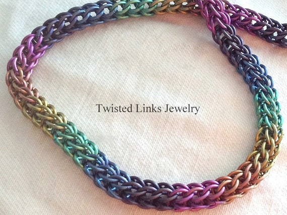 Rainbow titanium chainmail bracelet delicate Persian round chainmaille