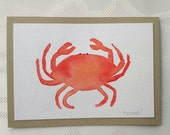 Hand Painted Watercolor Crab Greeting Card, one of a kind, Red, Orange