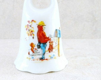 Smokey The Bear and Friends Bell White Porcelain Bone China Help prevent Forest Fires Norcrest Japan Smokey Bear