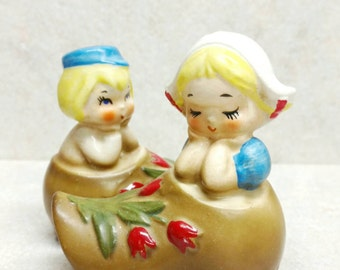 Lefton Salt and Pepper Shakers Dutch Ceramic Boy and Girl Blonde