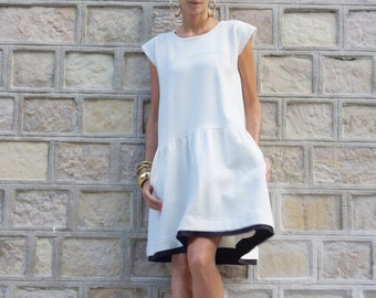 New Autumn Sexy Off White Dress / Thick Cotton Dress /Side Pockets / Short Sleeves Dress / Extravagant Party Dress A03486