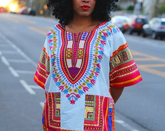 Unisex Dashiki White Shirt - Kings and Queens