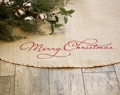 Natural Burlap | Christmas Tree Skirt | Merry Christmas | Red and White Piping | Upholstery Grade Burlap